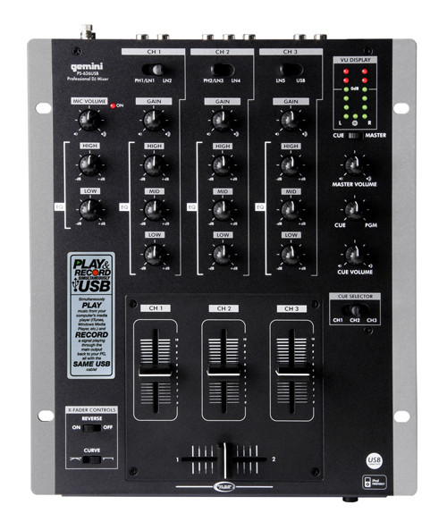 Gemini PS-626USB Pro 3-Channel Stereo Mixer with USB