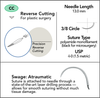 4-0 Sterile Micro Suture, 13mm, 3/8 Circle, Precision Reverse Cutting Needle | AROSuture™ CC13A04N-45