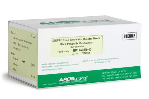 """AROSuture™ BP11A05N-45   5-0 Sterile Suture w/ Spatula Precision Cutting Needle Sterile Nylon Suture with Threaded Needle: Non-Absorbable, Black Polyamide Monofilament Suture, Suture Size 5-0 (1.0 metric), Suture Length 18"""" (45 cm), Spatula Precision Cutting Needle, Needle Length 11 mm, Needle Curvature 135° (3/8 Circle), 12 Per Box. ***Comparable to ETHICON 695G"""