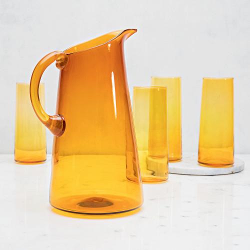 Handblown Pitcher & Glassware Set by Terrane