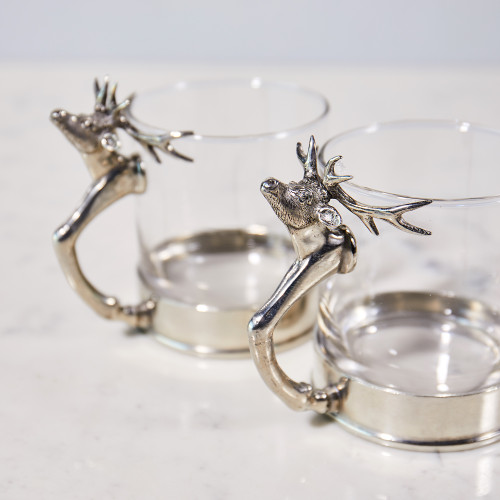 Pewter Stag Rocks Glass by Vagabond House