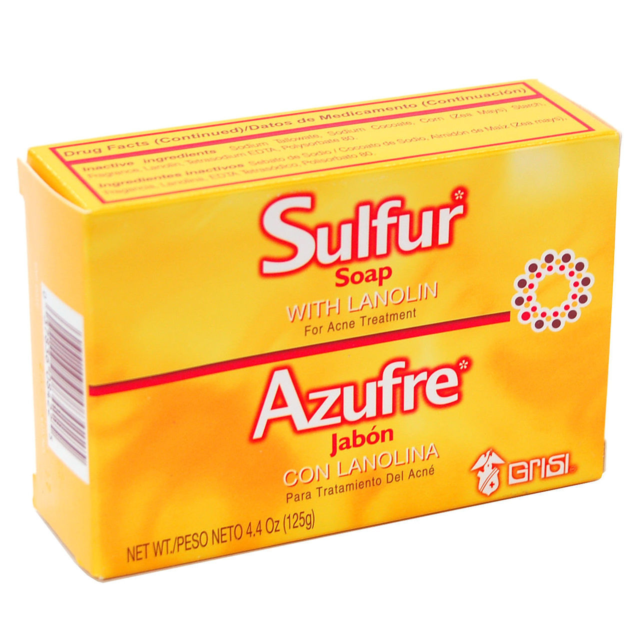 12 Pack New Grisi Sulfur Soap with Lanolin for Acne Prone Skin Clearing Additive (Salon Size) 1oz