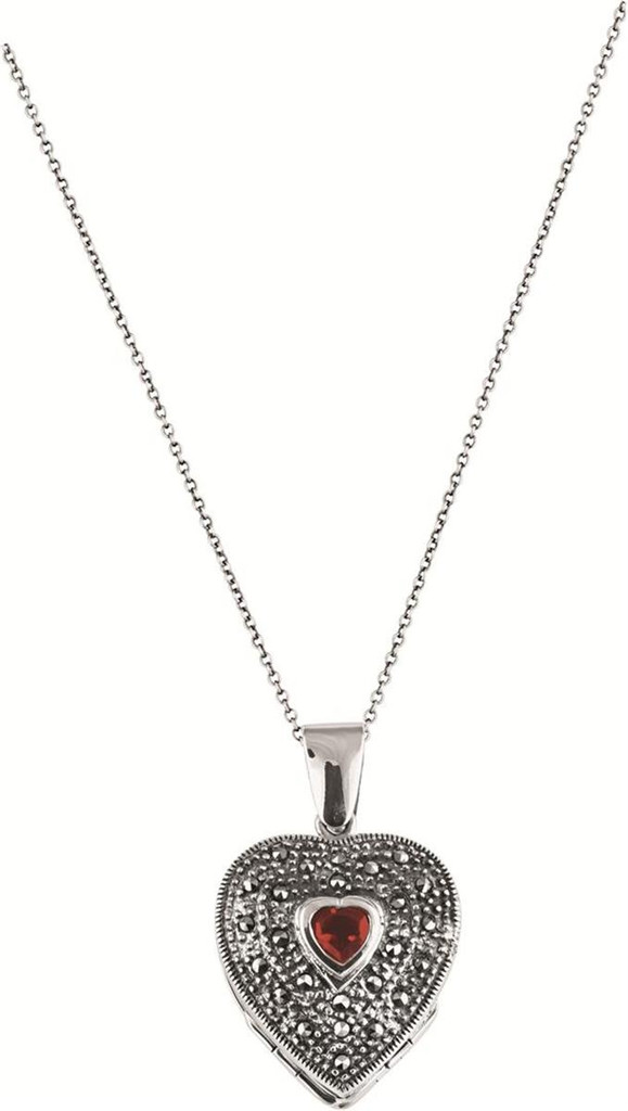 "4 part marcasite and garnet set heart locket on 56cm / 22"" antique finish Prince of Wales chain"