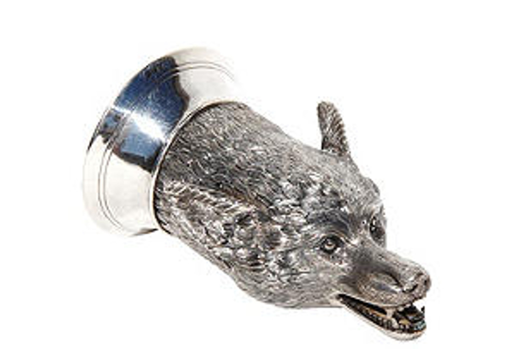 Silver Plate Fox head stirrup cup with gilded interior                                                     -  9cl (3 fl/oz)