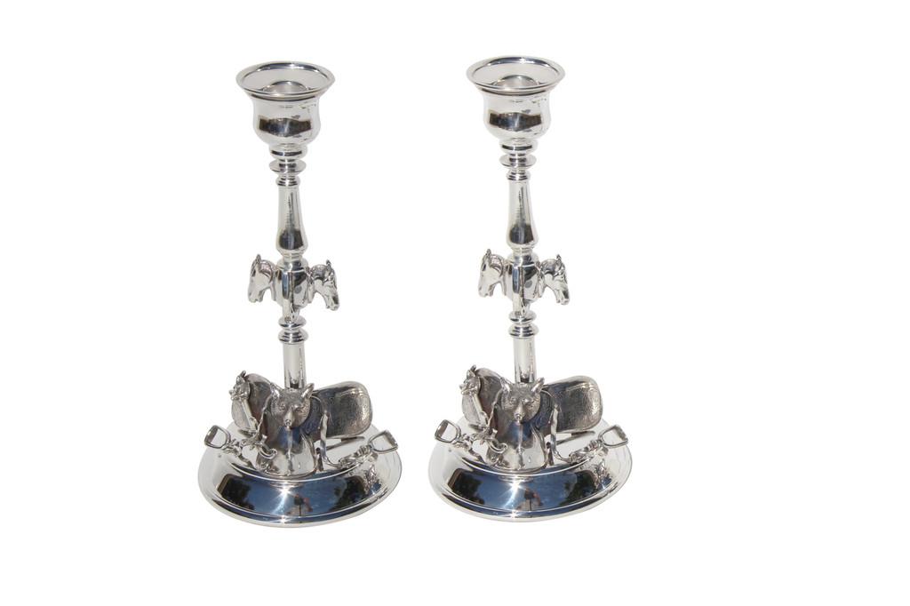 Pair English Fox & Horse  Candlesticks Silver Plated