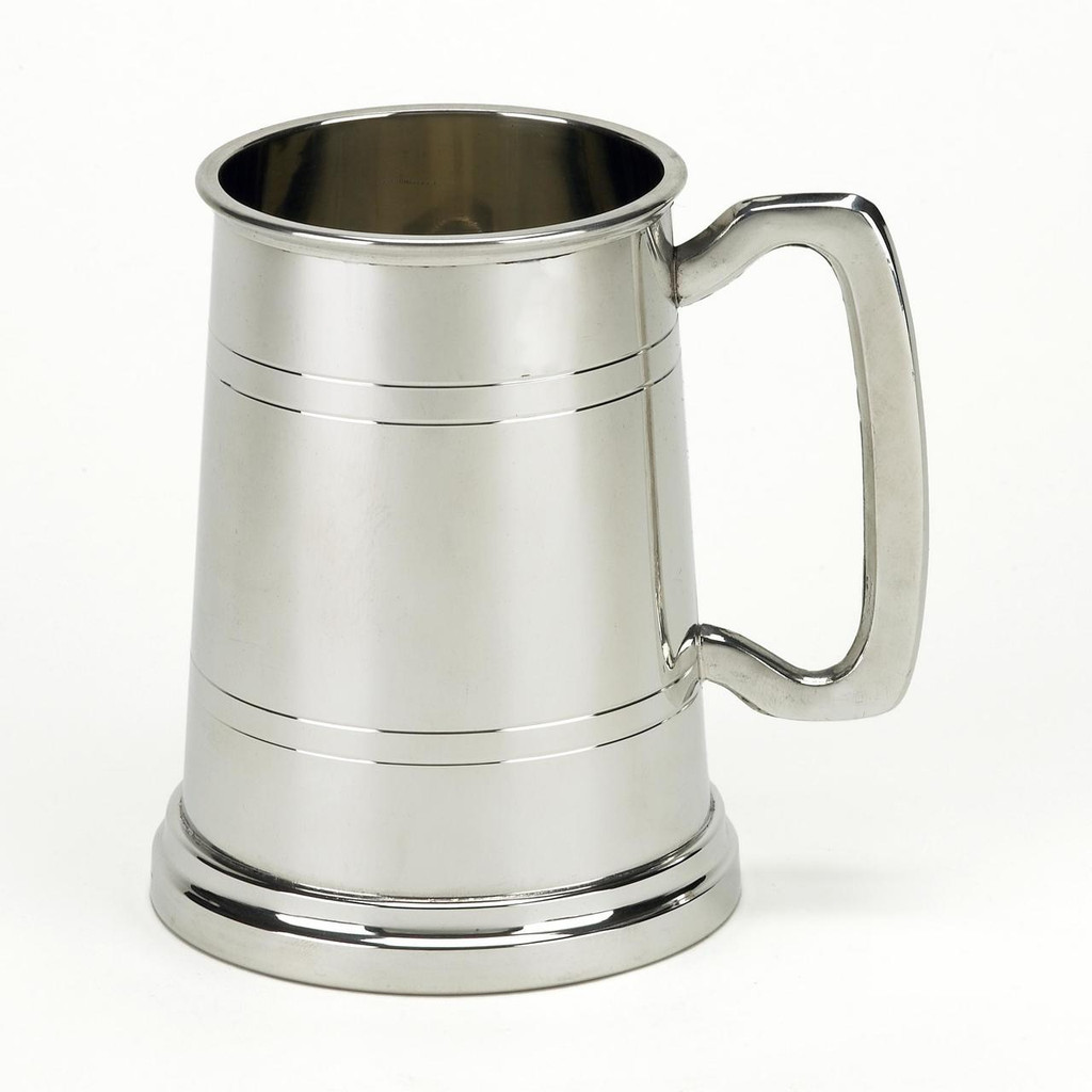 1 Pint English Pewter Tankard Plain with Lines