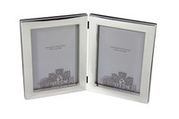 "Heavy Plain Double Sterling 5"" x 7"" Photo Frame with Wood Back & Beveled Glass"