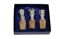 S/3 Silver-Plated Chess Wine Stoppers