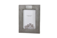 """Finest Lizard Stitch Design Sterling /Wood Frame With Cartouche 4"""" x 6"""""""