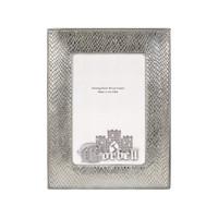 "Lizard Stitched Design Sterling /Wood Frame 4"" x 6"""