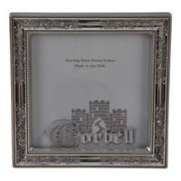 "Sterling Silver Frame Nostalgia Design with Wood Back 5""x 5"""