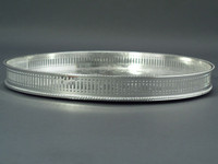 English Silver Plated Engraved Round Gallery Tray  12 ""