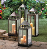 Tall Silver Modern Candle Lantern - 25 inches