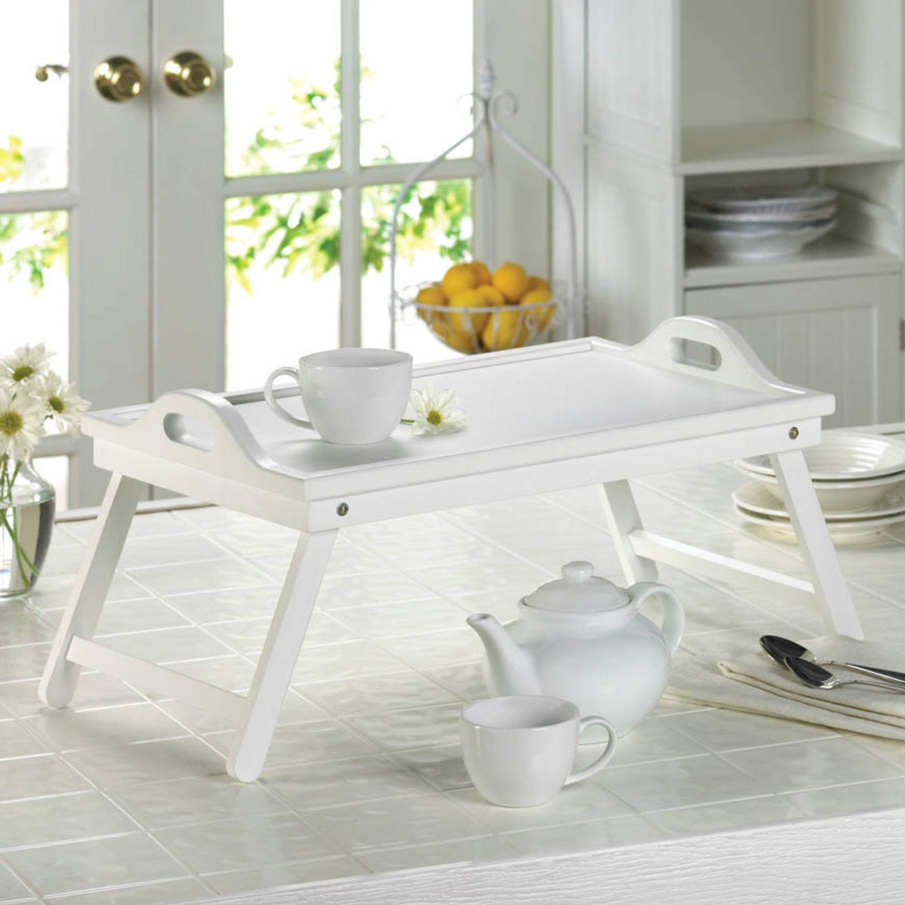White Wood Breakfast In Bed Tray