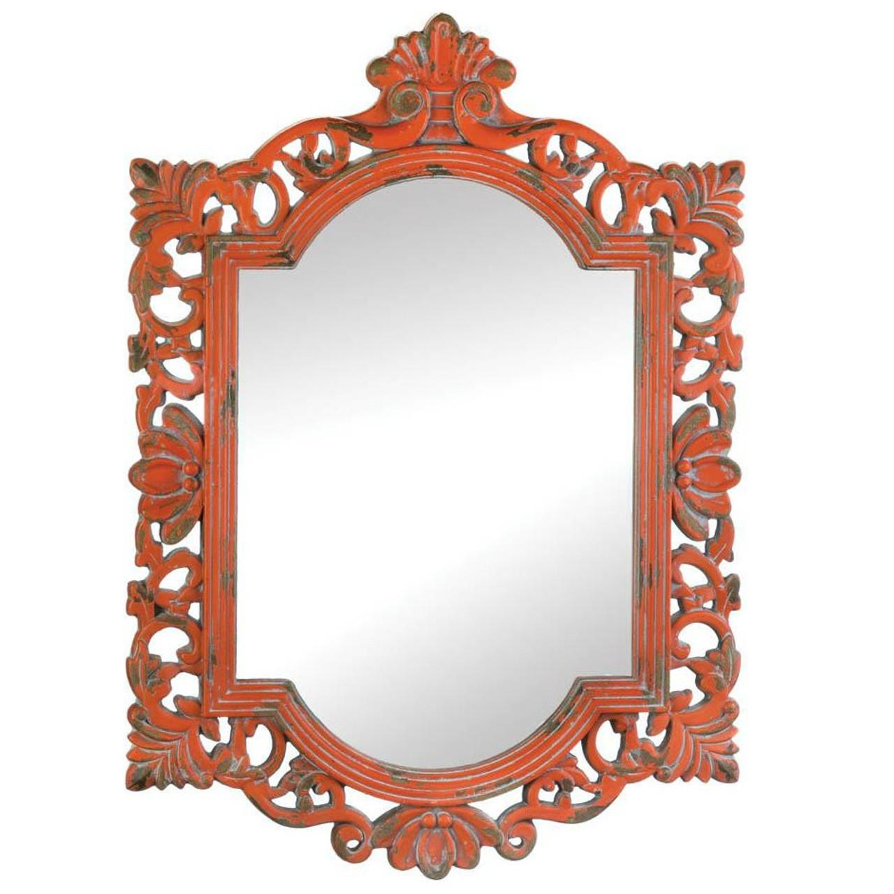 Vintage-Look Ornate Wood Frame Mirror - AEWholesale