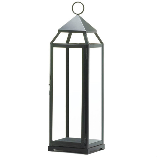 Tall Black Modern Candle Lantern - 25 inches