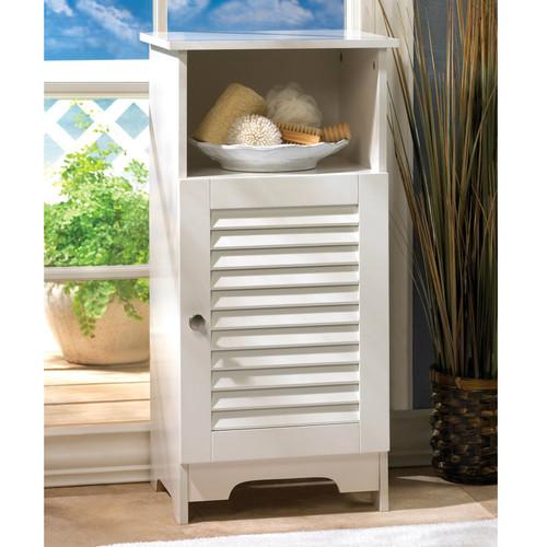 White Slatted Double Door Floor Cabinet Aewholesale