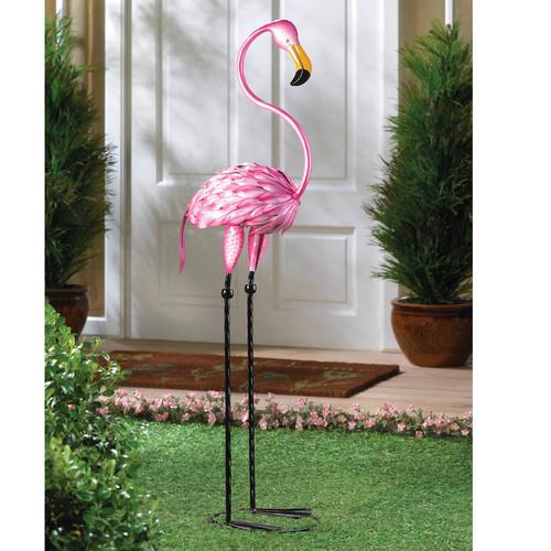 Metal 3-Foot Flamingo Yard Art - AEWholesale
