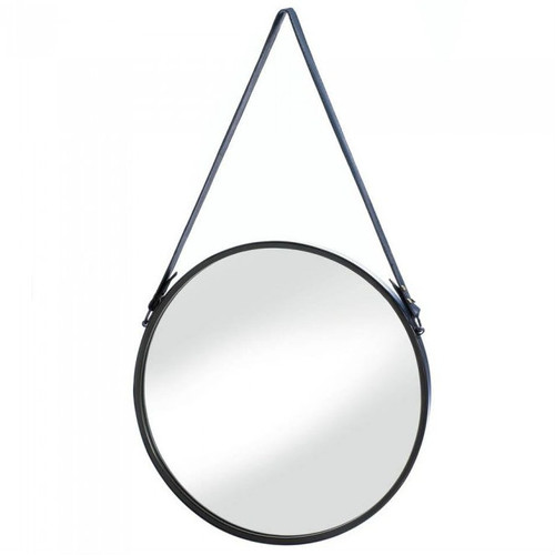 Round Hanging Wall Mirror with Faux Leather Strap