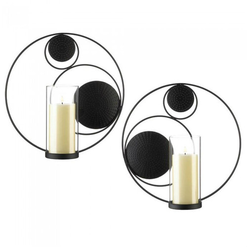 Set of 2 Circles-in-Circles Black Metal Wall Sconces