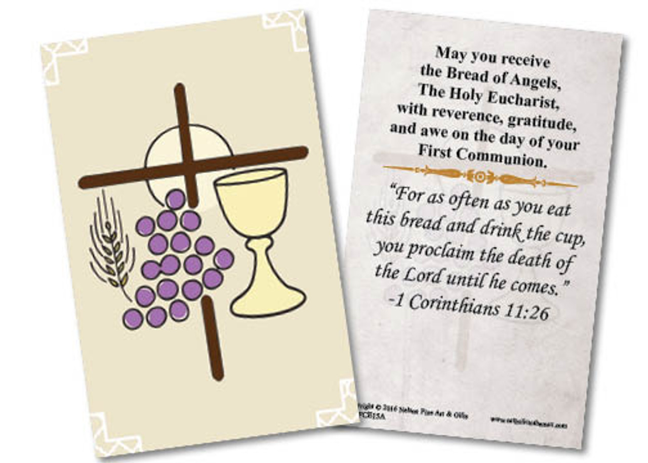 First Communion Symbols Holy Card Catholic To The Max Online
