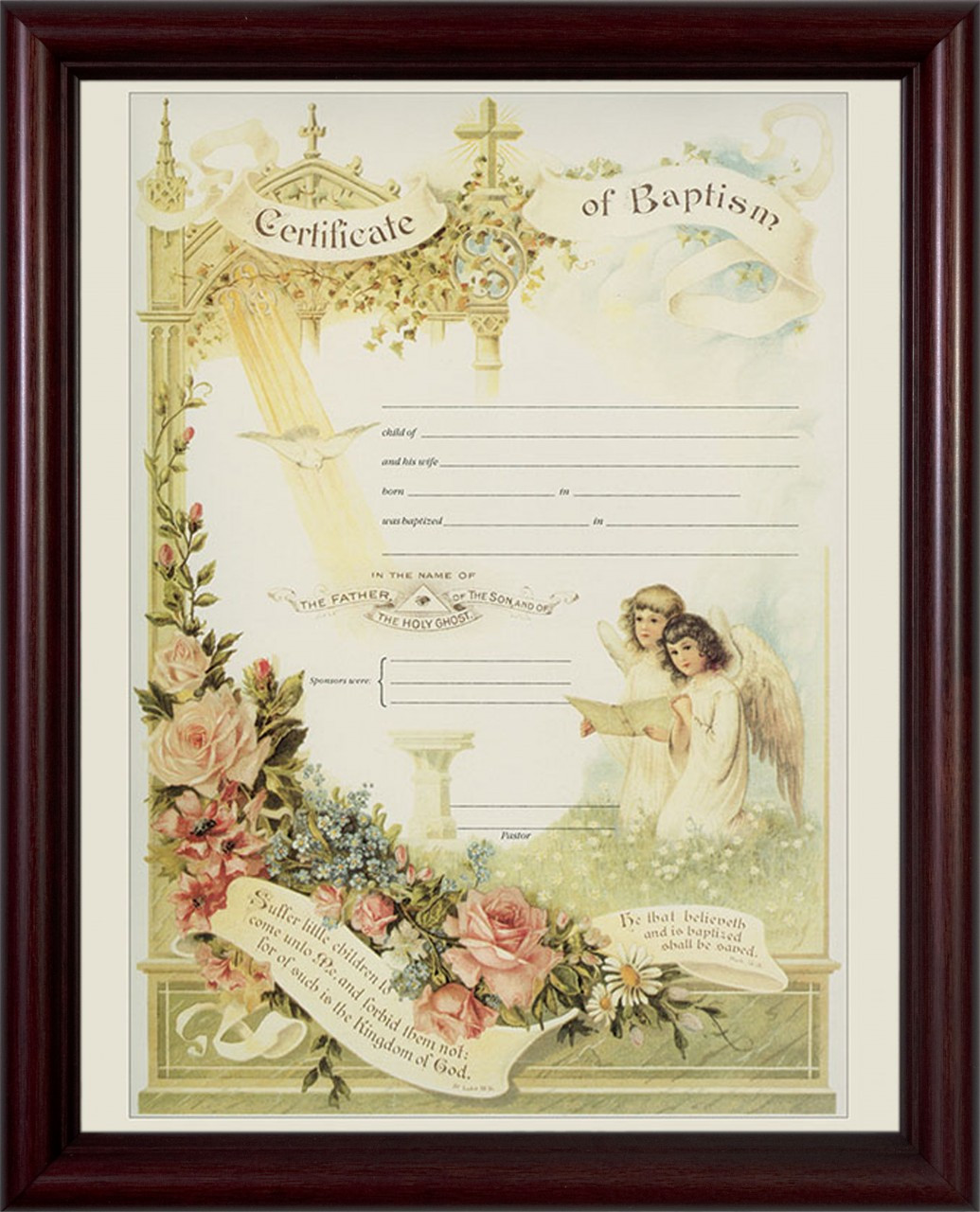 certificate of baptism cherry framed catholic to the max online