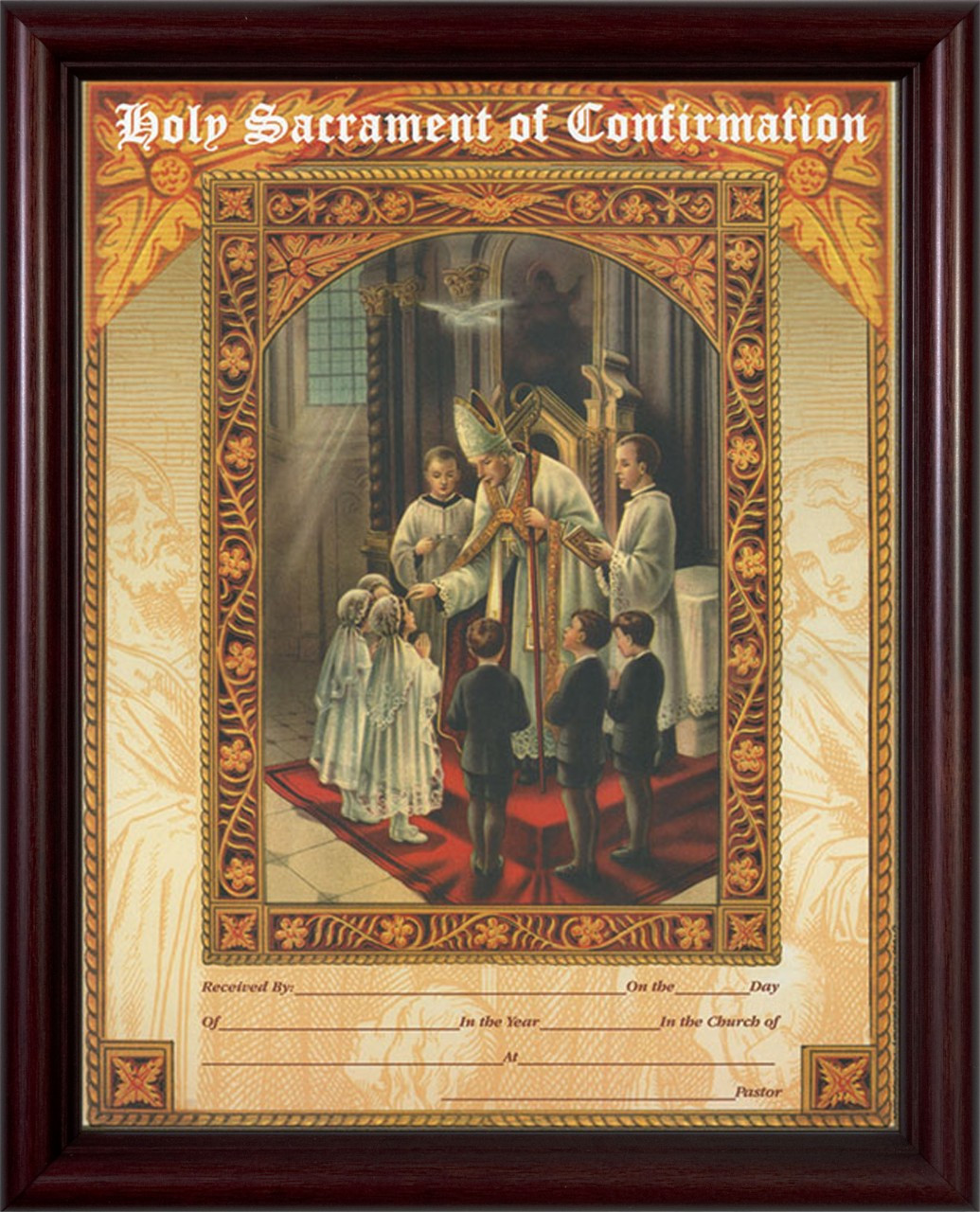 Holy sacrament of confirmation certificate cherry framed holy sacrament of confirmation certificate cherry framed 1betcityfo Images