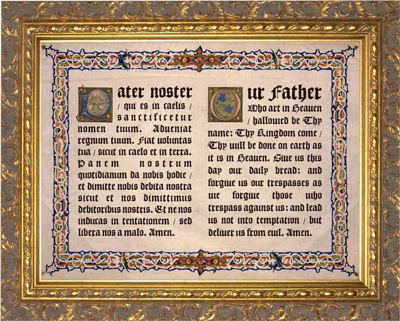 Latin English Our Father Gold Framed Art Catholic To The Max