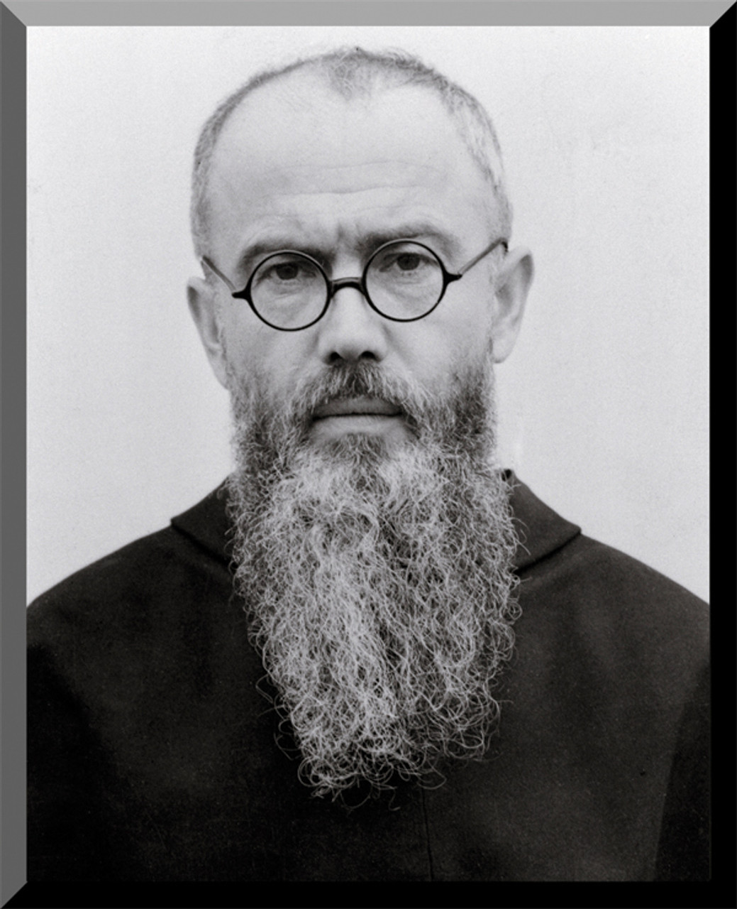 st maximilian kolbe portrait wall plaque catholic to the max online catholic store. Black Bedroom Furniture Sets. Home Design Ideas