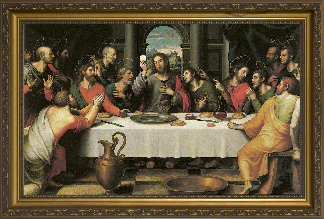 The Last Supper by Juan de Juanes - Standard Gold Framed Art ...