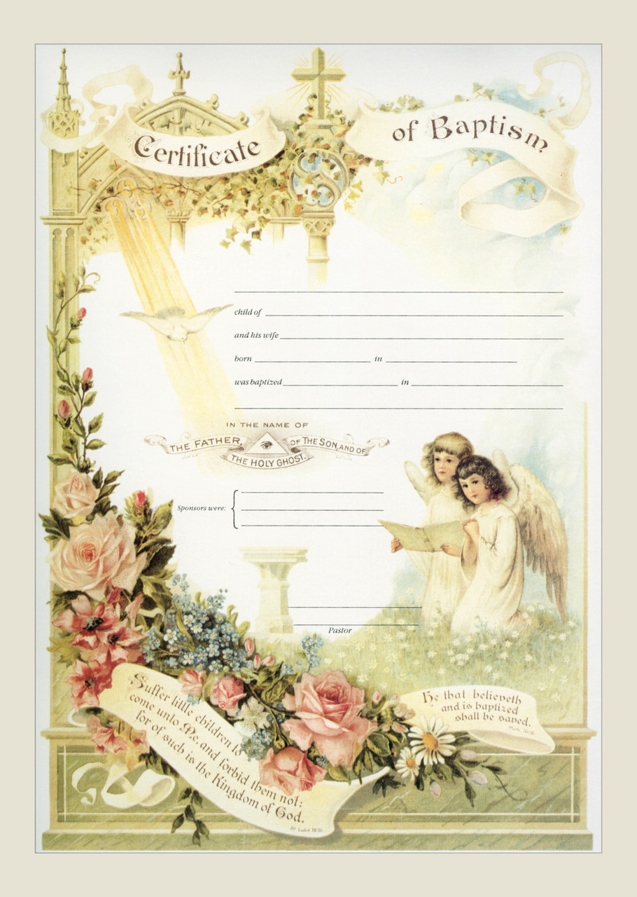 Traditional baptism sacrament certificate with angels unframed traditional baptism sacrament certificate with angels unframed m4hsunfo