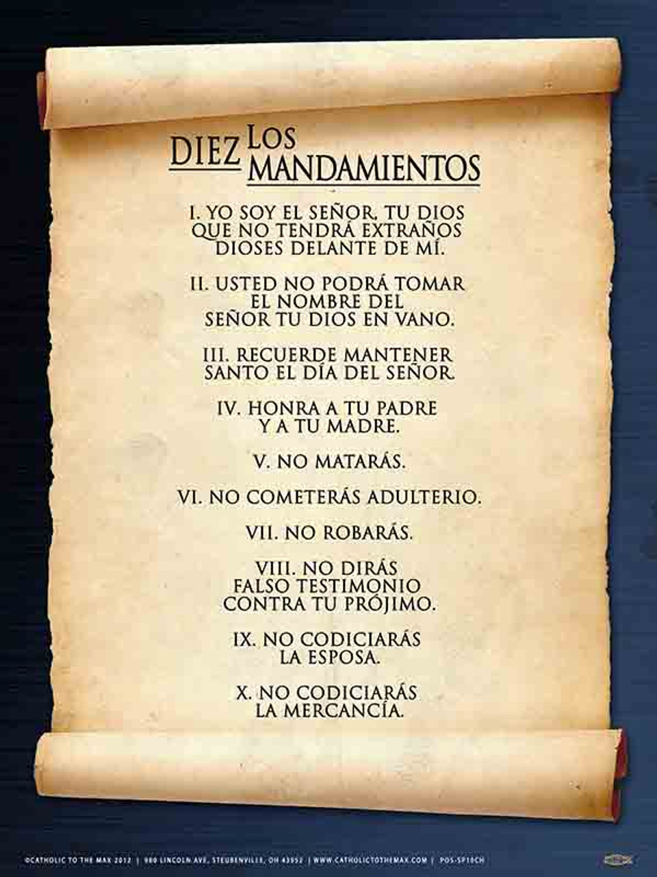 The 10 Most Beautiful Women In The World According To Science: Spanish 10 Commandments Poster