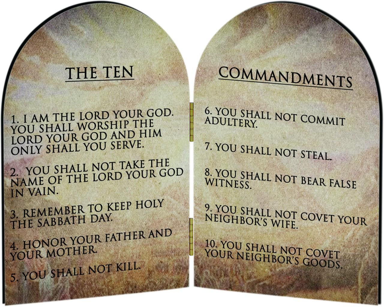Bedside Shelf Ten Commandments Catholic Arched Diptych Catholic To