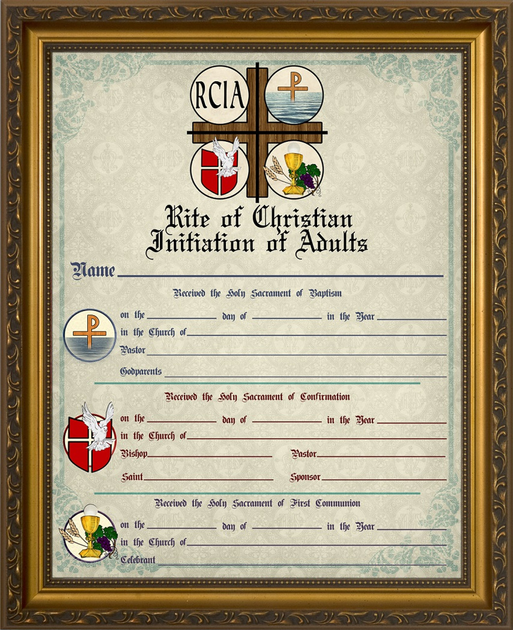 Rcia Sacrament Certificate Of Initiation In Gold Frame Catholic To