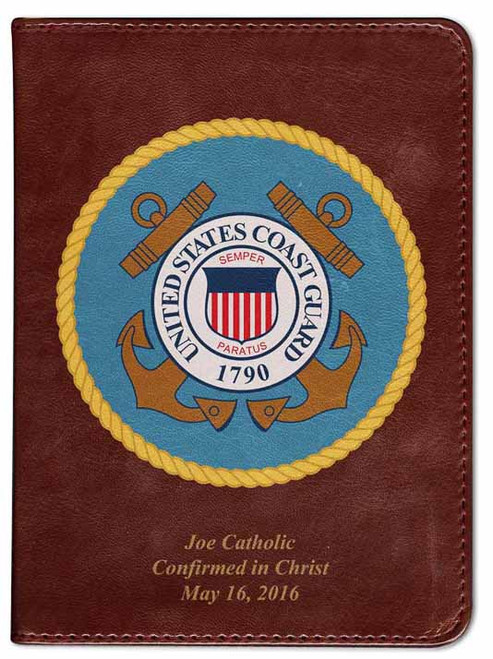 Personalized Catholic Bible with Coast Guard Cover - Burgundy RSVCE