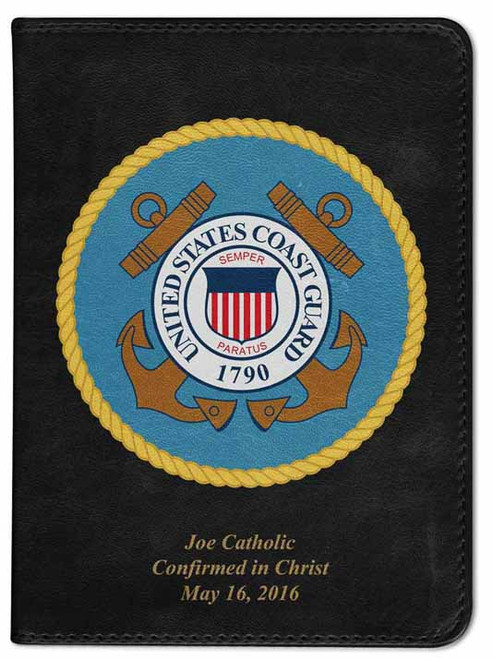 Personalized Catholic Bible with Coast Guard Cover - Black NABRE