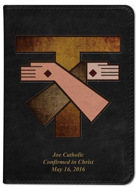 Personalized Catholic Bible with Franciscan Crest Cover - Black NABRE