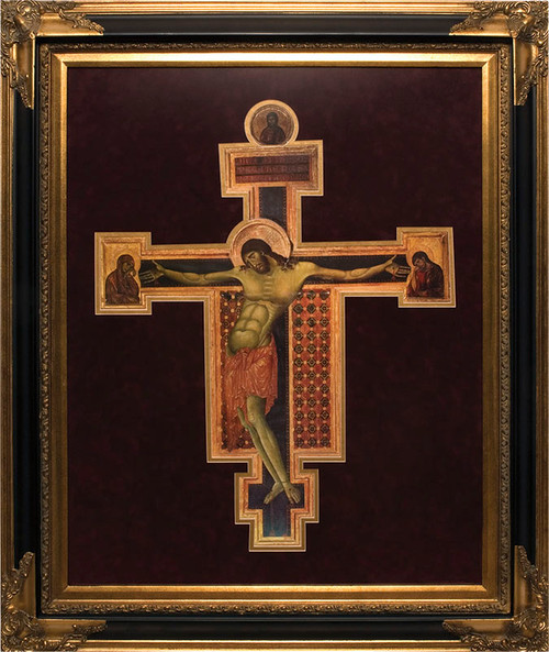 Byzantine Crucifix Icon by Cimabue Matted Frame