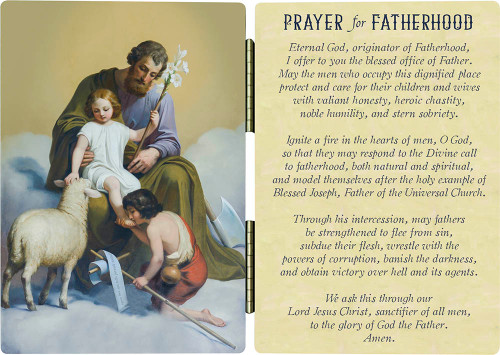 St. Joseph Guardian of Sons Prayer for Fatherhood Diptych