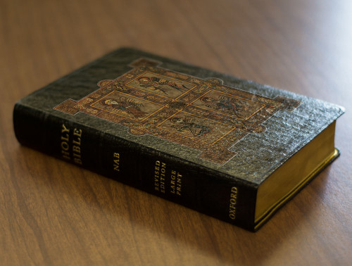 Personalized Catholic Bible with Book of Kells Cover - Black Genuine Leather NABRE