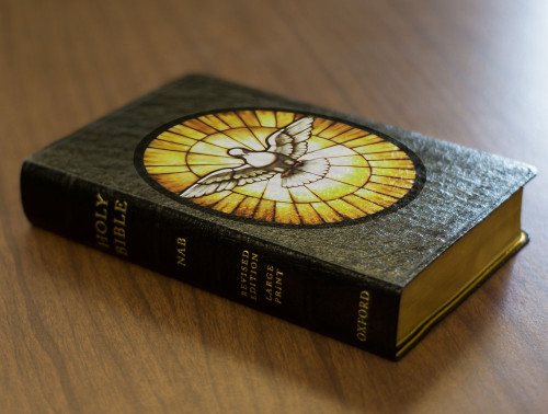 Personalized Catholic Bible with Stained Glass Dove Cover - Black Genuine Leather NABRE