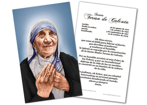 SPANISH St. Teresa of Calcutta Canonization Prayer Card