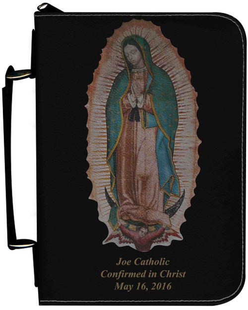 Personalized Bible Cover with Our Lady of Guadalupe Graphic - Black