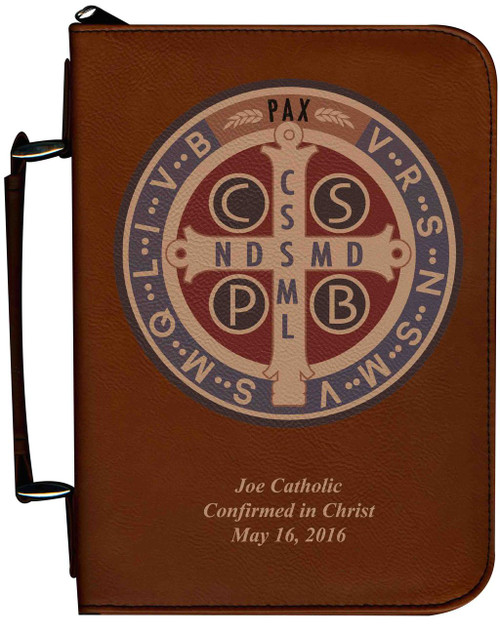 Personalized Bible Cover with Benedictine Medal Graphic - Tawny