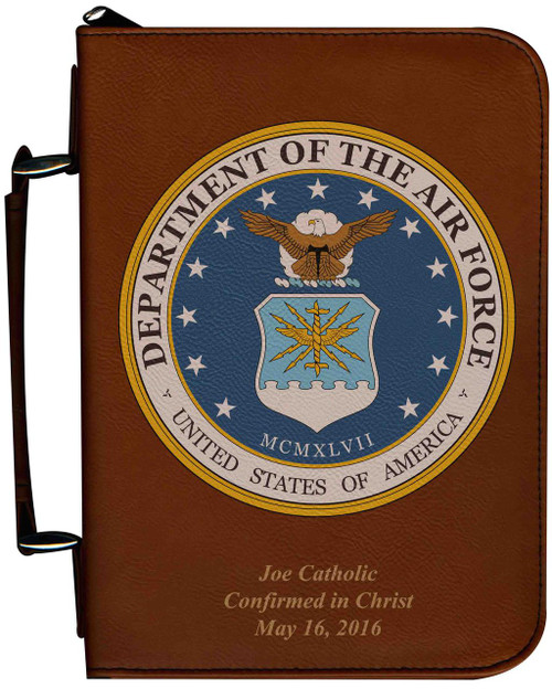 Personalized Bible Cover with Air Force Graphic - Tawny