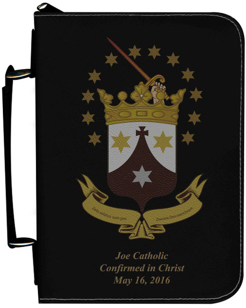 Personalized Bible Cover with Discalced Carmelite Crest Graphic - Black