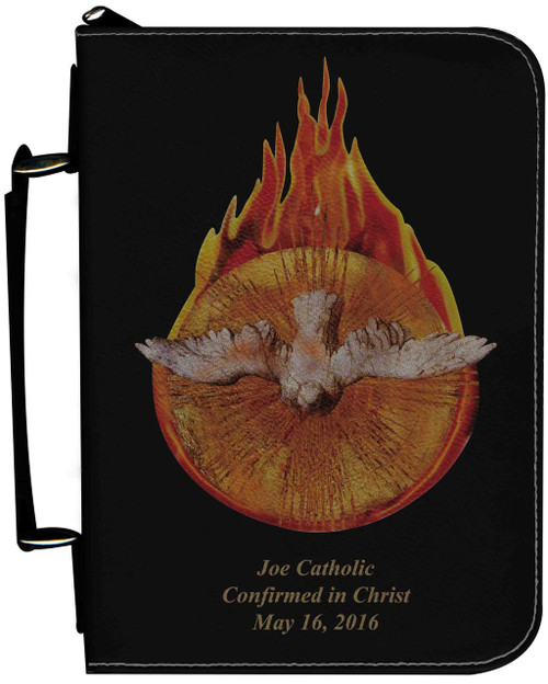 Personalized Bible Cover with Holy Spirit Fire Graphic - Black
