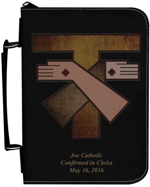 Personalized Bible Cover with Franciscan Crest Graphic - Black