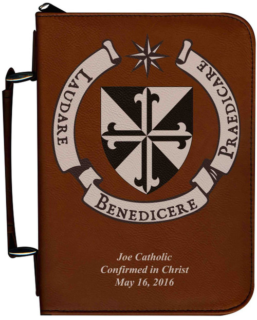 Personalized Bible Cover with Dominican Shield Graphic - Tawny