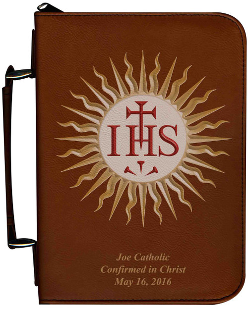 Personalized Bible Cover with Jesuit IHS Graphic - Tawny